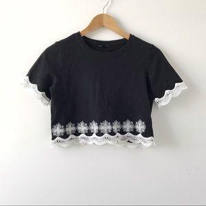 💕 TopShop Women's Black Short Sleeves Crop Top 💕